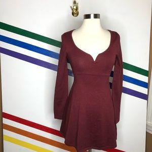 NEW Urban Outfitters maroon fit n flare dress